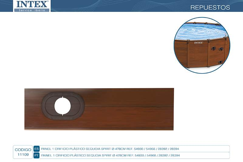 11109-PANEL 1 ORIFICIO PLASTICO SEQUOIA SPIRIT 569CM