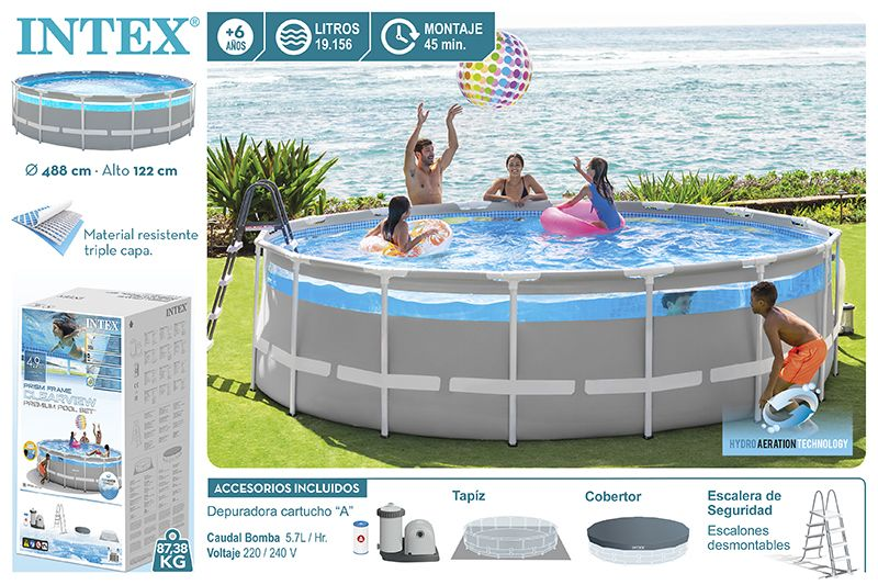 26730NP-PISCINA CLEARVIEW PRISM FRAME D488X122 CM (C/ACC)