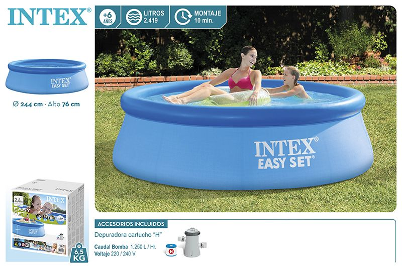 28112-PISCINA EASY SET 244X76CM C/BOMBA 1250L/H