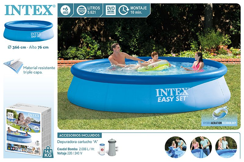 28132-PISCINA EASY SET 366X76CM C/BOMBA 2006L-220/240V