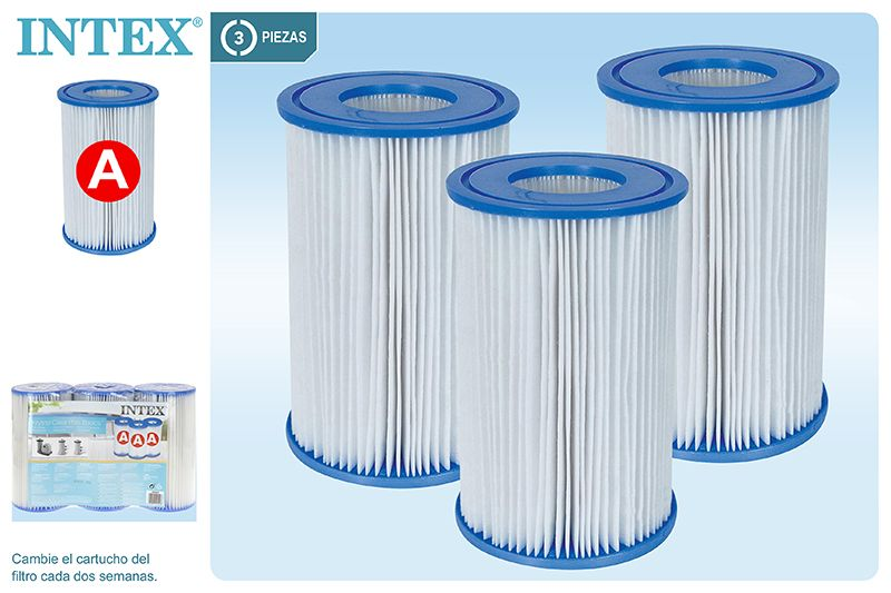 29003-PACK 3 CARTUCHOS FILTRO INTEX - TIPO A