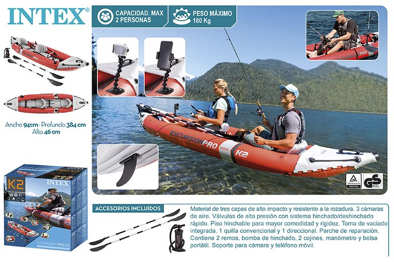 KAYAK EXCURSION PRO 384X94X46 CM - REMOS ALU+BOMBA
