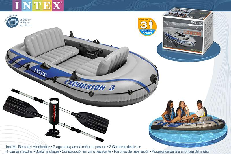 BARCO EXCURSION 3 COM REMOS ALU + BOMBA MANUAL 262X157X42CM