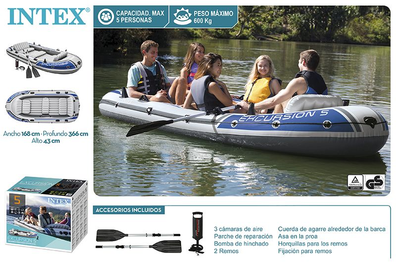 BARCO EXCURSION 5 COM REMOS ALU + BOMBA MANUAL 366X168X43CM