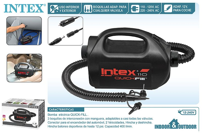 BOMBA ELECTRICA 220V-240/12V DC INTEX INDOOR/OUTDOOR
